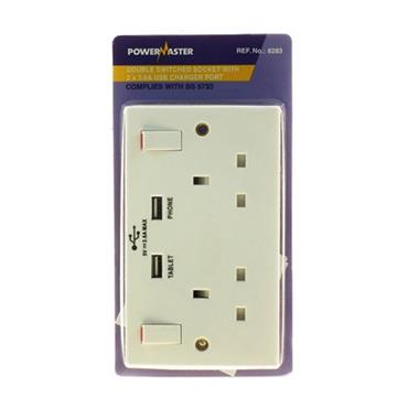 Powermaster 2 Gang 13 Amp Switched Double Socket with 2 USB Ports | 1790-34