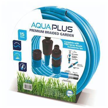 Aquaplus 15 Metre Premium Braded Garden Hose and Fittings | PPS760102