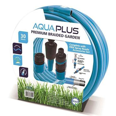 Aquaplus 30 metre Premium Braided Garden Hose with Fittings | PPS760126