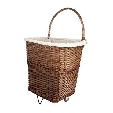 Sirocco Natural Wicker Firelog Cart with liner - Large