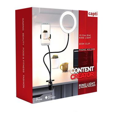 You Star Content Creator Phone Holder with LED light - Black | YS2153