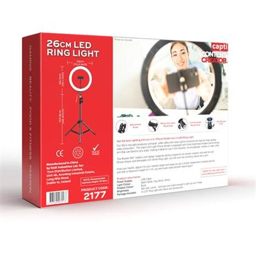 You Star Content Creator 26cm Dimmable LED Ring Light with Phone Holder - White | YS2177