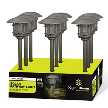 Night Bloom Solar Pathway Light with Die Cast Cage Bronze Finish | NBL969793