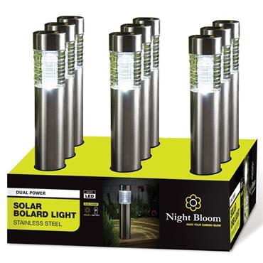 Night Bloom Solar Bollard Light with PIR - Stainless Steel | NBL969830
