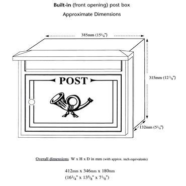 The Liffey Built-In Cast Aluminium Letterbox Postbox - Antique Black