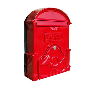 The Al Small Cast Aluminium Letterbox Postbox - Ruby Red