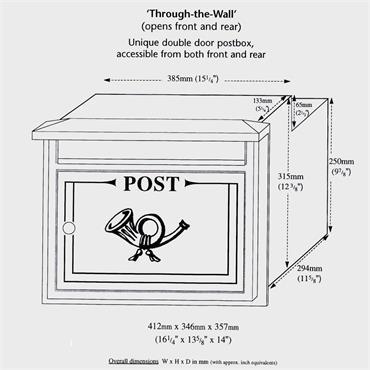 The Danube Through The Wall Cast Aluminium Letterbox Postbox - Graphite Black