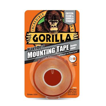 Gorilla Heavy-Duty Mounting Double Sided Tape Crystal Clear 25.4mm x 1.52 metre