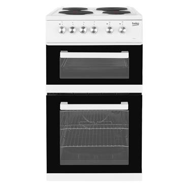 Beko 50cm Twin Cavity Solid Plate Electric Cooker White | KD531AW