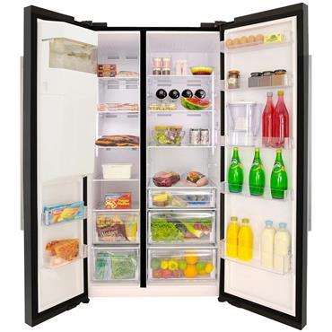 Beko American Style Fridge Freezer with Plumbed Water and Ice Black | ASP341B