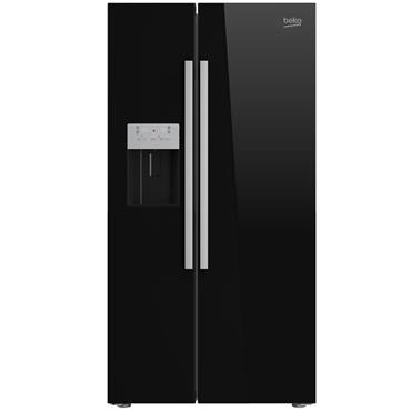 Beko American Style Fridge Freezer with Plumbed Water and Ice Black | ASP341B