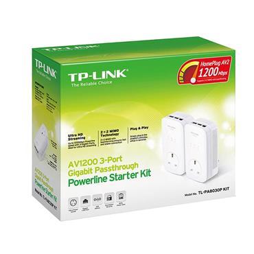 TP-LINK 3-Port Gigabit Passthrough Powerline Starter Kit | TL-PA8030PKIT