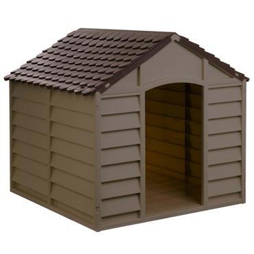 LARGE PLASTIC DOG KENNEL HOUSE MOCHA