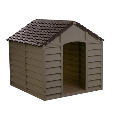 SMALL PLASTIC DOG KENNEL MOCHA