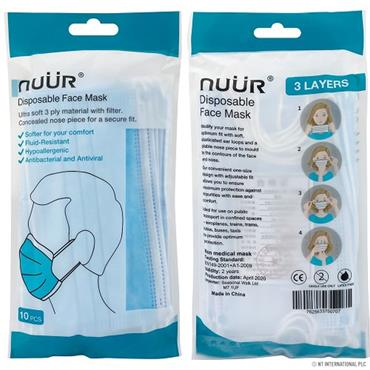 NUUR 3 PLY DISPOSABLE FACE MASKS 10 PACK