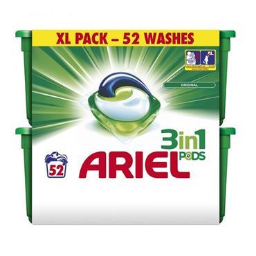 ARIEL 3-IN-1 LIQUID XL-PACK 52 PODS