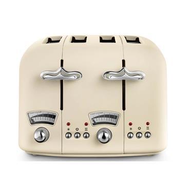 Delonghi Argento Flora 4 Slice Toaster - Cream   CT04.BR