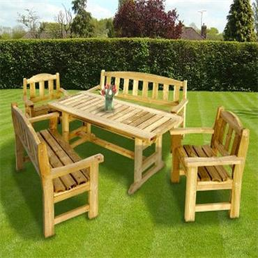 WOODFORD ASHFORD GARDEN SET 5 PIECE ( 2 Benches 2 Chairs 1 Table )