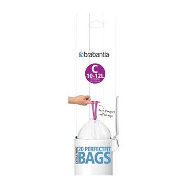 Brabantia White Plastic C 10-12 Litre Extra Strong Bin Bags 20 Pack   24534