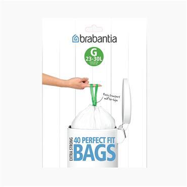 Brabantia White Plastic G 23-30 Litre Extra Strong Bin Bags 40 Pack | 246265