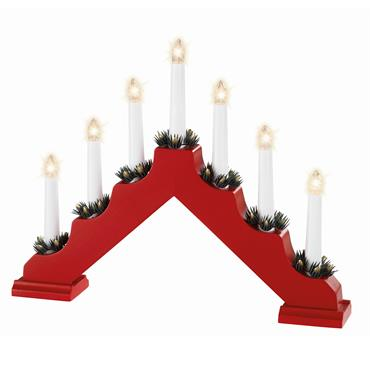 7 Light Wooden Candlebridge Candle Arch - Red | 9499676