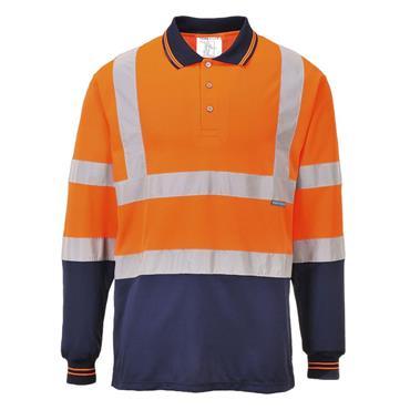 Portwest Two-Tone Long Sleeved Polo Shirt - Orange/Navy