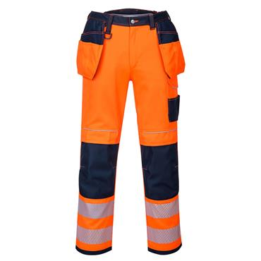 Portwest PW3 Hi-Vis Holster Pocket Work Trouser - Orange/Navy