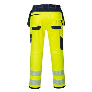 Portwest PW3 Hi-Vis Holster Pocket Work Trouser - Yellow/Navy