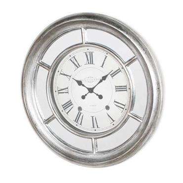 BELLA MIRRORED CLOCK 65CM ANTIQUE SILVER