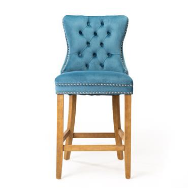 Casey Barstool Brushed Natural Leg - Blue