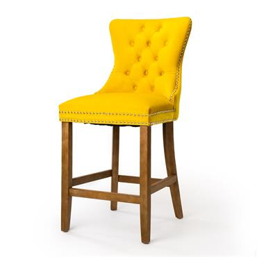 Casey Barstool Brushed Natural Leg - Yellow