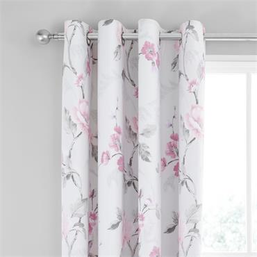FLORAL TRAIL PINK & GREY CURTAINS 66X72 INCH