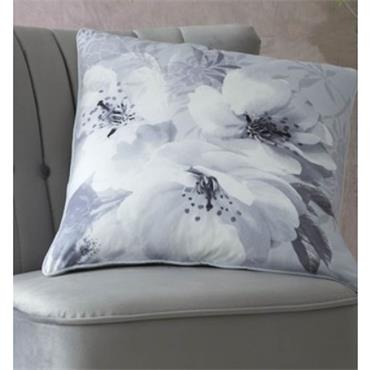 DRAMATIC FLORAL SILVER FILLED CUSHION 55X55