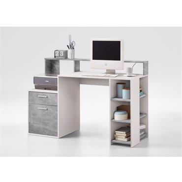 Shaker Concrete & White Shelved Desk