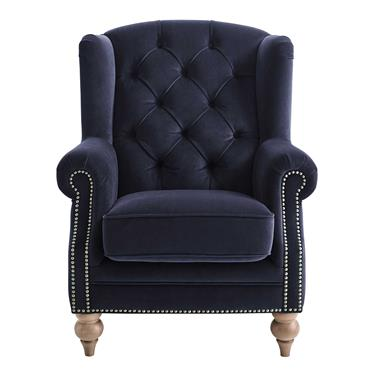 Windsor Velvet Wing Chair