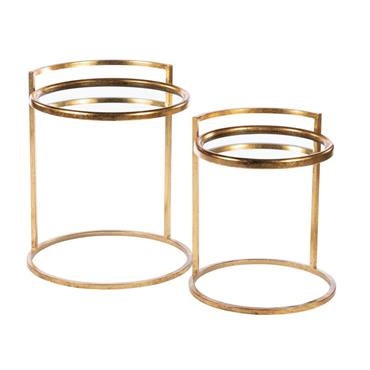 AMELIA S/2 SIDE TABLES MIRRORED GOLD