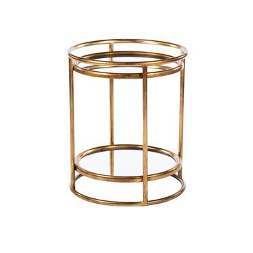 AMELIA SIDE TABLE MIRRORED WITH SHELF GOLD