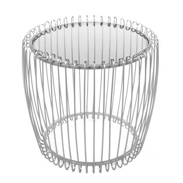 LOTTIE END TABLE SMOKED GLASS SILVER