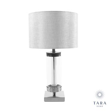 JANE GLASS CYLINDER LAMP SILVER/GREY 54CM