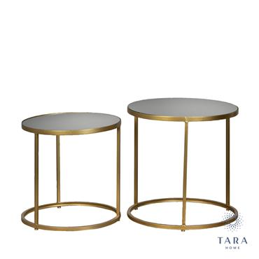AVERY S/2 SIDE TABLES ROUND MIRRORED GOLD