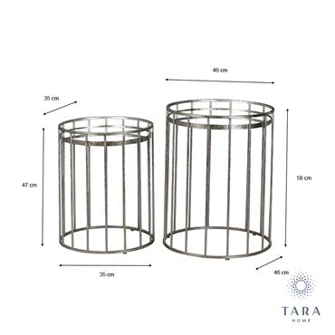 CAGE S/2 SIDE TABLES MIRROR RND SILVER