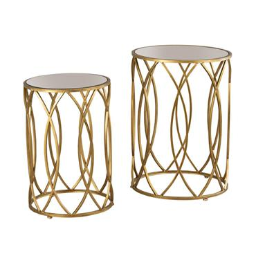 WAVES S/2 SIDE TABLES ANTIQUE MIRROR GOLD
