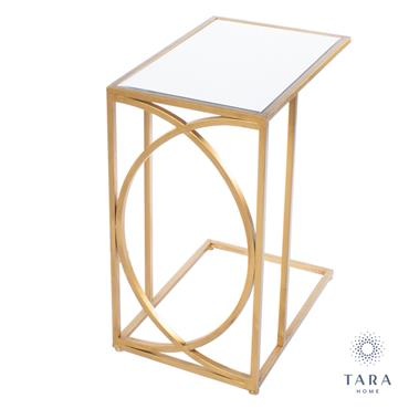FRANKLIN S/2 SOFA TABLES MIRRORED TOP GOLD