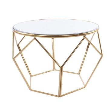 GEOMETRIC END TABLE MIRRORED GOLD