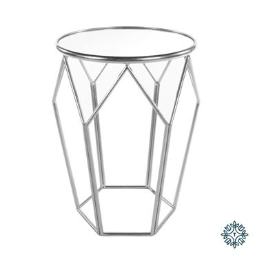 GEOMETRIC ACCENT TABLE MIRRORED SILVER