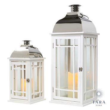 JULIE S/2 WOODEN LANTERNS WHITE/CHROME L/M