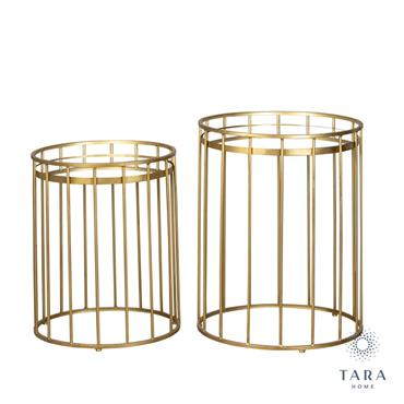 CAGE S/2 SIDE TABLES ROUND MIRROR GOLD