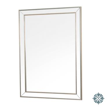 NATALIE BEADED RECT MIRROR SILVER