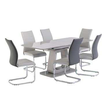 Alberta 1.4m Dining Table Light Grey Extension