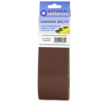 Sanding Belt 3pk Assorted 100x610mm